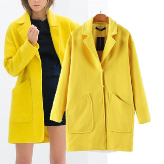 New-Arrivel-Classic-Fashion-Womens-Wool-Blend-Long-Jacket-Coat-Ladies-Pockets-Trench-Parka-Yellow-Coat